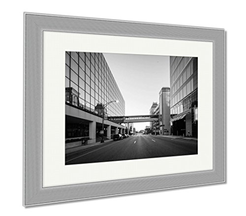Ashley Framed Prints Modern Buildings And Friendly Avenue In Downtown Greensboro No, Wall Art Home Decoration, Black/White, 34x40 (frame size), Silver Frame, - Friendly Center Greensboro