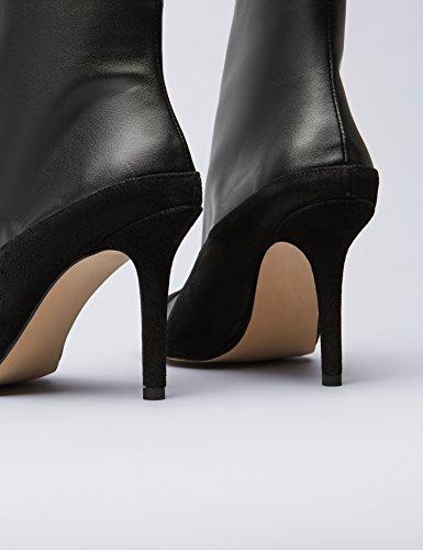 Black Damen mit Hohe Schwarz Absatzstiefel FIND Applikationen wzgPYqqx