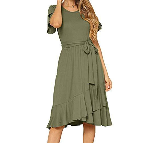(Summer Dresses for Women, Dresses Women's Plain Casual Flowy Short Sleeve Midi Dress with Belt Chaofanjiancai Army)