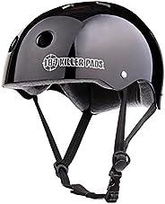 187 Killer Pads Pro Skate Helmet with Sweatsaver Liner, Black Glossy, Large