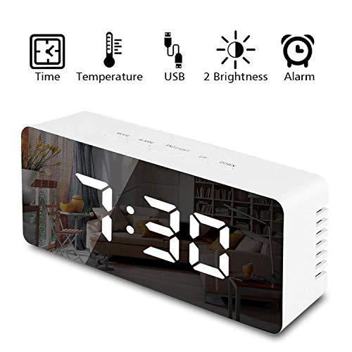 TFHEEY Reloj Despertador Digital, Reloj con Pantalla LED Mejor Maquillaje, Espejo de Viaje, Reloj, Reloj de Oficina, Alarma...
