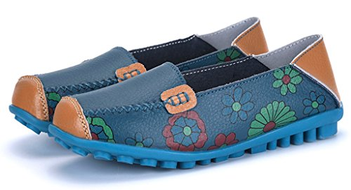 01 Flat Driving Loafers Slip Blue Slippers Women's Labato Shoes Casual Leather On 8qgZFpPpw