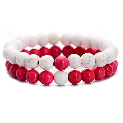 (Pop 2Pcs/Set Couples Distance Bracelet Classic Natural Stone White and Black Yin Yang Beaded Bracelets for Men Women Best Friend Hot,whitered )