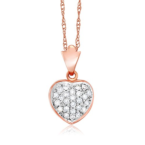 18k White Gold Diamond Pendant (18K Rose Gold White Diamond 0.5