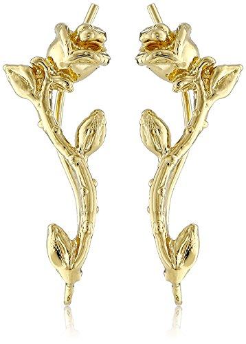 The Ear Pin 18k Gold Plated Sterling Silver Romantic Rose Stem Earrings