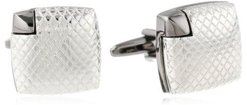 Stacy Adams Men's Cuff Link With Hematite Corner, Silver, One Size by Stacy Adams (Image #1)