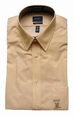 (Arrow Men's Classic Fit Wrinkle Free Fineline Striped Dress Shirt (18-18.5 Neck 34/35 Sleeve, Sunflower))