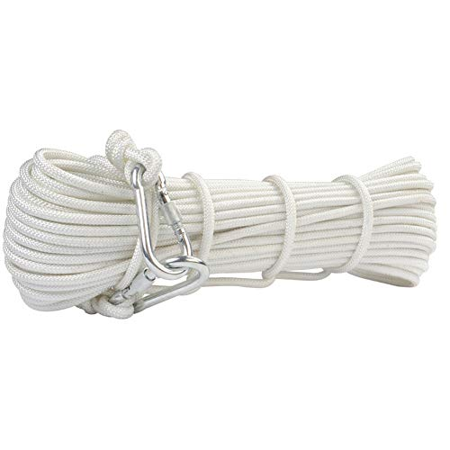 ZWYY Outdoor Escape Rope, 8mm Steel Wire Core Safety Rope Home Fire Escape Rope Lifeline High-Rise Fire Rope for Hotel Safe Family Lifesaving,White,10m