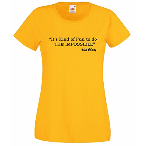 Modèle Impossible Do Sa shirt T Disney Citation Walt To Jaune Fun Femmes The fOvqPwF
