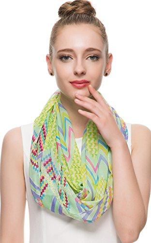 HUAN XUN Chevron Scarf Stripe Zig Zag Check Plaid Print Infinity Loop Scarves Accessory, Mint Green