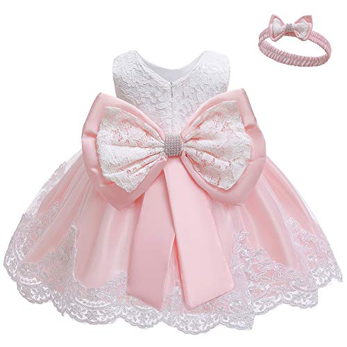 LZH Baby Girls Formal Dress Bowknot Birthday Embroidery Tutu Dress with Headwear(8348-Meat Pink,6M/3-6 Months)