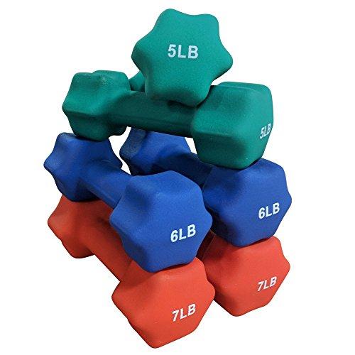 Titan Neoprene Light Weight Dumbbell Set - 5, 6, 7 LB by Titan Fitness
