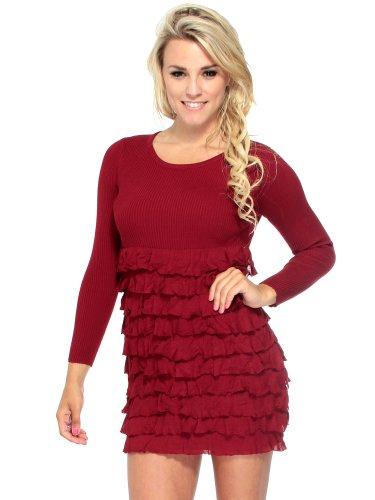 Simplicity Slim Fit Mini Dress w/Flounce Detailed Pattern Long Sleeves,Burgundy
