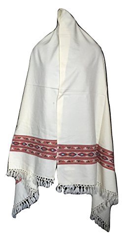 Women's Tibetan Style Shawl with One Kullu Style Stripe (White)