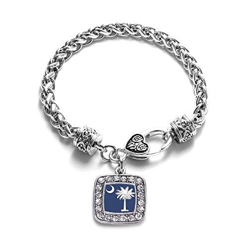 South Carolina Flag Classic Silver Plated Square Crystal Charm Bracelet - South Carolina Logo Square