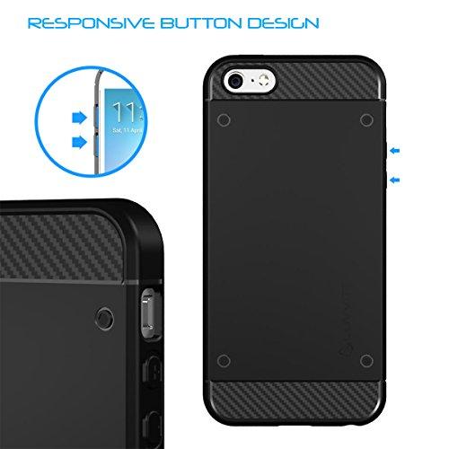 iPhone SE Fall, luvvitt [Sleek Armor] Slim, flexibel Rückabdeckung TPU Gummi für Apple iPhone 5SE–Schwarz