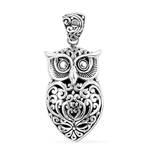 Owl Sterling Pendant Silver - 925 Sterling Silver Fashion Owl Pendant Necklace Jewelry Gift for Women 8 g