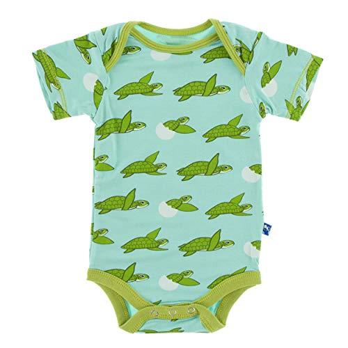Pant Turtle Kids - Kickee Pants Little Boys Print Short Sleeve One Piece - Glass Sea Turtles, 0-3 Months