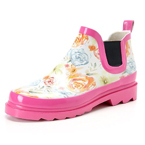 mujeres de lluvia flowers a las baja para ayudar Rosa botas pink C8nqXU7wwx