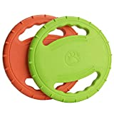 Legendog 2 Pcs Dog Flying Disc Squeaky Rubber Dog Toys Soft Floating Dog Catcher Toy Pet Training & Chewing (Green & Orange) Review