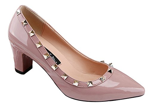 No.66 Town Women's Rivet Dress Pumps Court Shoes Pink