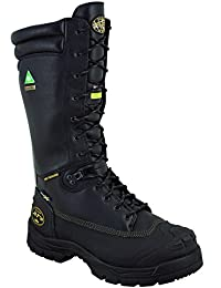 "65 Series 14"" Leather Puncture-Resistant Waterproof Men's Steel Toe Mining Boots with Metatarsal Guard, Black (65691)"