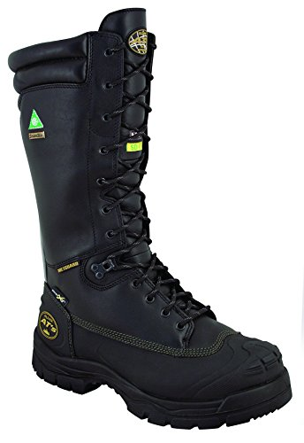 "Oliver 65 Series 14"" Leather Puncture-Resistant Waterproof Men's Steel Toe Mining Boots with Metatarsal Guard, Black (65691)"