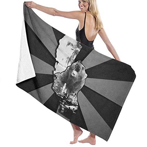 NLXCY Zebra Tie Dye California Bear State Beach Luxury Beach Towels Fashion Sauna Yoga Gym Towel ()