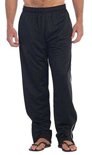 Gioberti Mens Track Running Sport Athletic Pants, Elastic Waist, Zip Bottom
