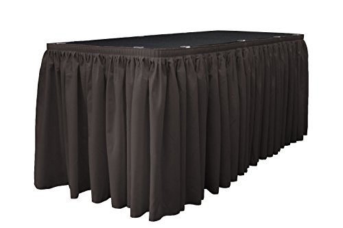 Pleated Linen (LA Linen Polyester Poplin Pleated Table Skirt with 10 Large Clips, 14-Feet by 29-Inch, Charcoal)