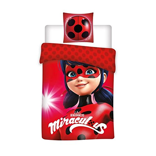 Miraculous Ladybug Kids Reversible Super Soft 100% Cotton Duvet Cover and Pillow Cover Set,Twin