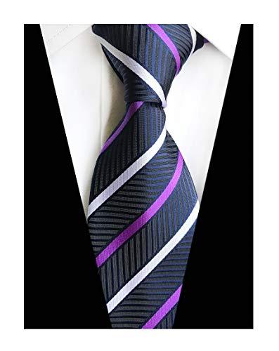 Mens Stripes College Silk Ties Jacquard Gentlemen Herringbone Navy Necktie Gifts