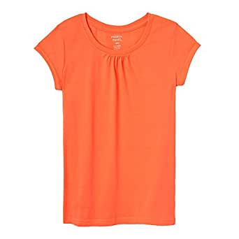 French Toast Baby Girls Short Sleeve Crewneck Tee, Fiery Coral, 12M