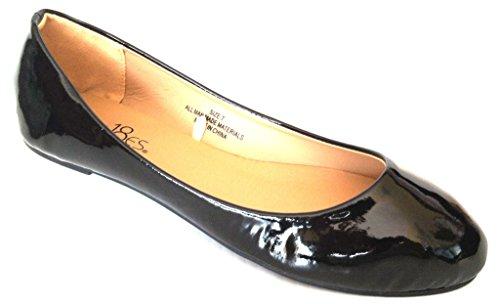 erina Ballet Flat Shoes 1800 Patent Black 10 (Patent Ballerina)