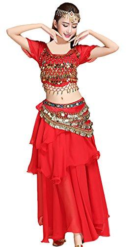 Costumi Giovane Ventre Vintage Top Indiano Donna Etnico collana Stile Indiani Del monete Elegante ornamento Testa Cintura Grazioso Rosso Dancing Costume 5 Pancia Women gonna Lunga Pezzi Danza fzqpvna