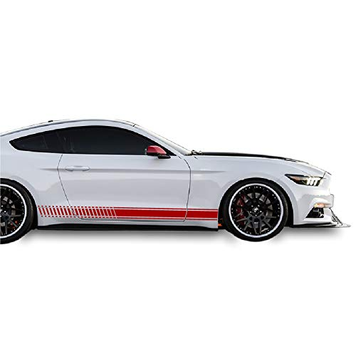 (Bubbles Designs Decal Sticker Vinyl Side Racing Stripes Compatible with Ford Mustang 2015-2017 (RED))