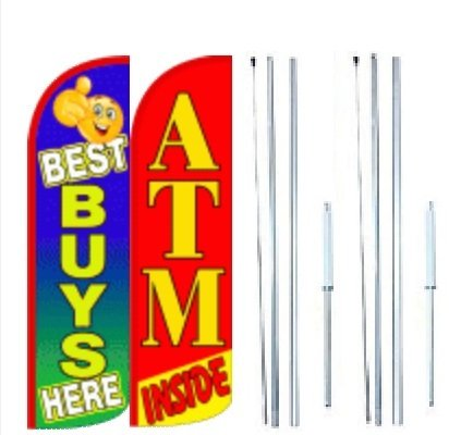 Best Buys Here ATM Inside King Windless Flag Sign With Complete Hybrid Pole set - Pack of 2 by OnPoint Wares
