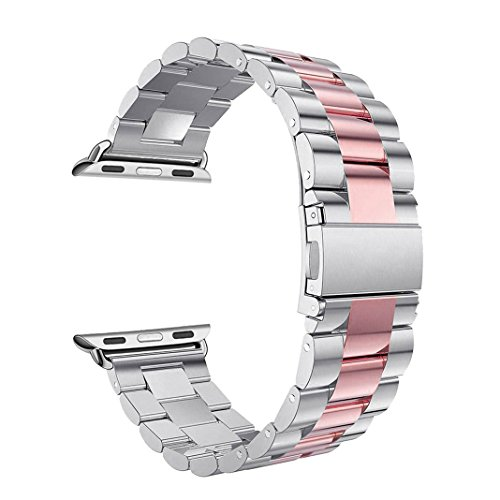 Pointers Apple Pointer (For iWatch Straps 38MM Silver/Pink, Rosa Schleife Apple Watch Straps 38mm Stainless Steel Metal Smart Watch Replacement Band Classic Buckle Clasp Wristbands for Apple Watch Series 3/2/1 Sport,Edition)
