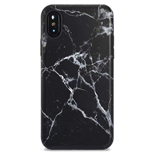 iPhone X Case/iPhone Xs Case,GOLINK Marble Series Matte Finish Slim-Fit Ultra-Thin Anti-Scratch Shock Proof Dust Proof Anti-Finger Print TPU Gel Case for iPhone X/iPhone Xs - Black Marble III
