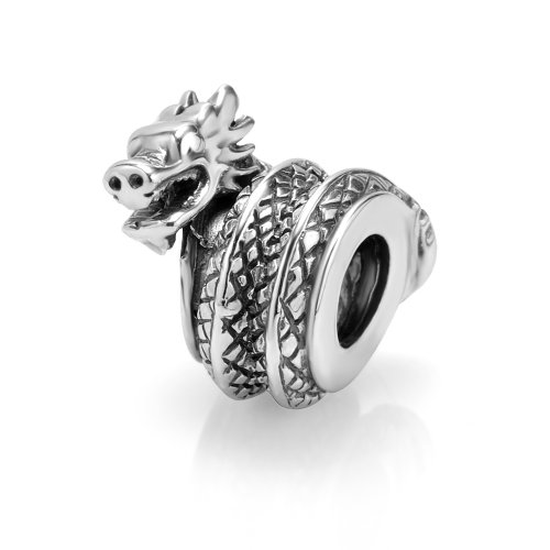 925 Sterling Silver Dragon Bead Charm