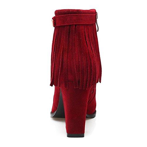 YE Damen Ankle Boots Gefüttert Chunky Heels Stiefeletten Geschlossen mit Fransen und Reißverschluss Blockabsatz 8cm Elegant Warm Schuhe Rot