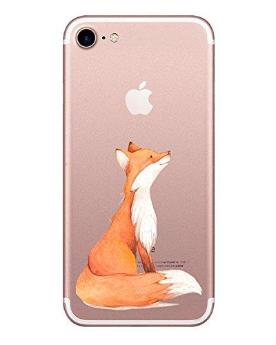 AIsoar Compatible/Replacement fit iPhone / iPhone 8 Case, Slim Fit Clear Soft TPU Cute Cartoon Animal Pattern Design Case Non Slip Anti Scratch Scratch-Resistant Protective Case (Fox)