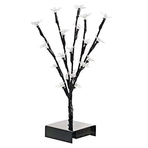 12 Inch LED Cherry Blossom Tree - Lighted Artificial Trees for Home Decor Office Desk Decorations Battery Operated Table Tops. No Cords or Outlets Needed