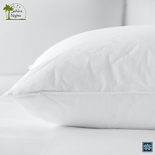 Sahara Nights Pillow: Best Pillow for Back and Stomach Sleepers -Hotel & Resort Quality Pillows - Gel Fiber Fill Cotton - Hypoallergenic Pillow (Standard Size Pillow)