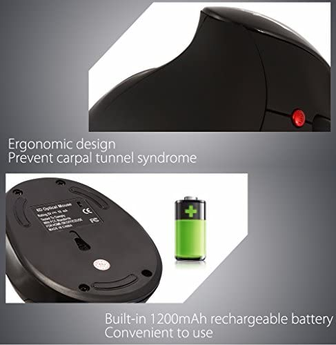 HXSJ vertical charging 2.4GHz wireless gaming mouse 6 key build in 1200Mah
