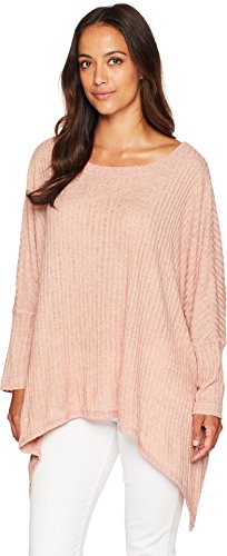 Nally & Millie Women's Ribbed Poncho Top Terracotta One Size (Ribbed Poncho)
