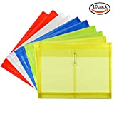Moep Letter Size Poly String Project Envelope with Expandable Gusset, Set of 10 Mix Colors, Water / Tear Resistant, Translucent