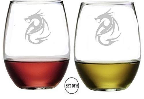 (Dragon Stemless Wine Glasses | Etched Engraved | Perfect Fun Handmade Present for Everyone | Lead Free | Dishwasher Safe | Set of 2 | 4.25