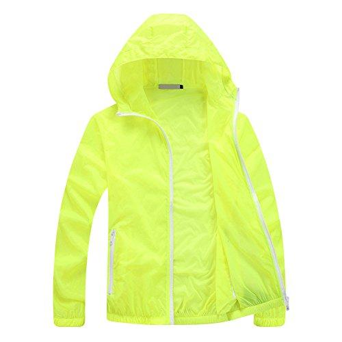 Neon Windbreaker - Men's Solid Hooded Windbreaker UV Sun Protection Jacket Neon Green Small