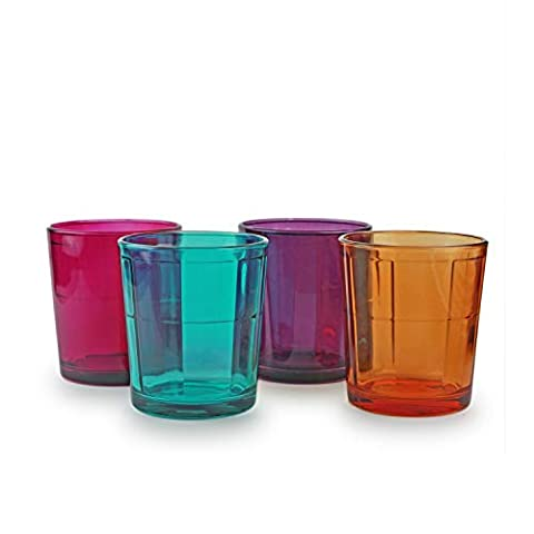 Circleware 40243 Boardwalk Colored Heavy Base Whiskey Drinking Glasses, Set of 4, Entertainment Dinnerware Glassware for Water, Juice, Beer Bar Liquor Dining Decor Beverage Cups Gifts, 12.5 oz